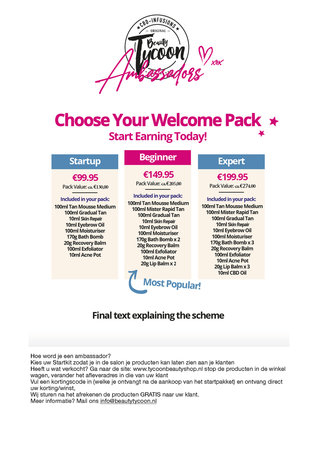 Welcome Pack Startup